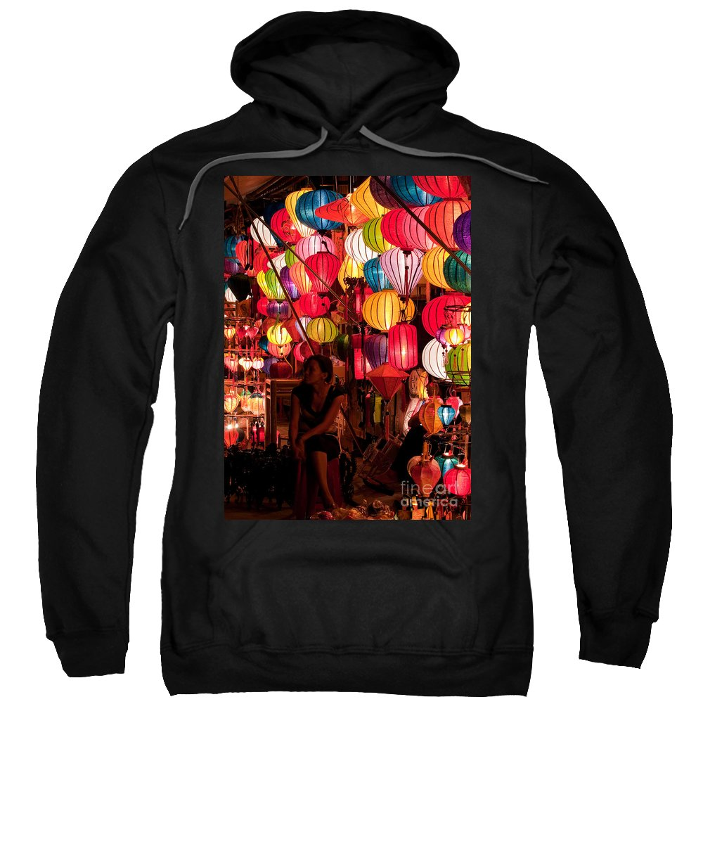 Vietnam Sweatshirt featuring the photograph Lantern Stall 02 by Rick Piper Photography