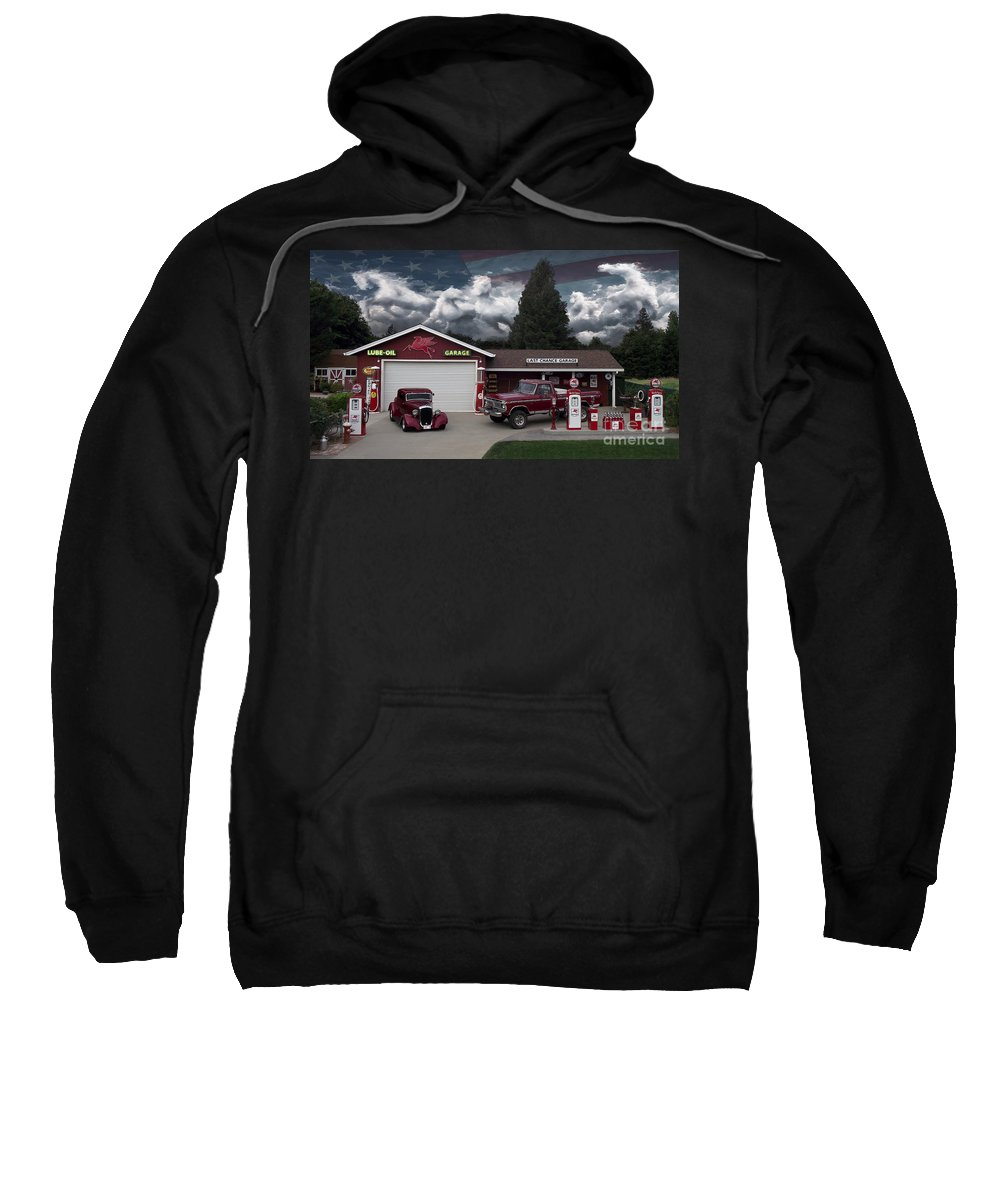 None Sweatshirt featuring the photograph Last Chance Garage Final by Peter Piatt