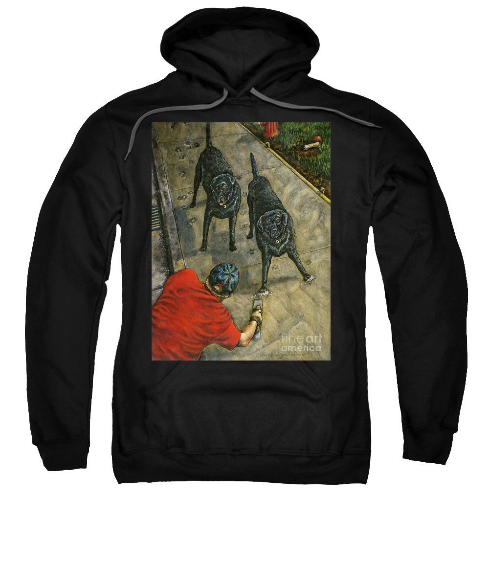 Kneeling Sweatshirt featuring the painting Lasting Impressions by Linda Simon