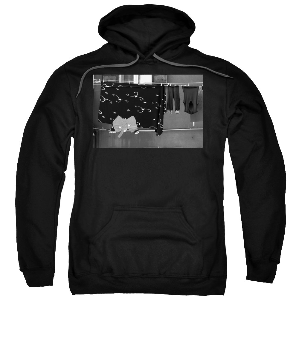 Horizontal Sweatshirt featuring the photograph Laundry Vii Black And White Venice Italy by Sally Rockefeller