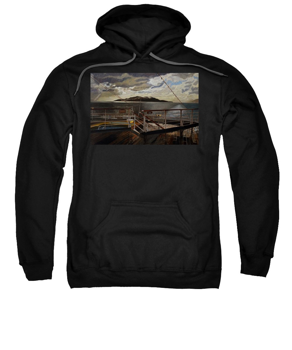 Queen Charlotte Sound Sweatshirt featuring the painting Leaving Queen Charlotte Sound by Thu Nguyen