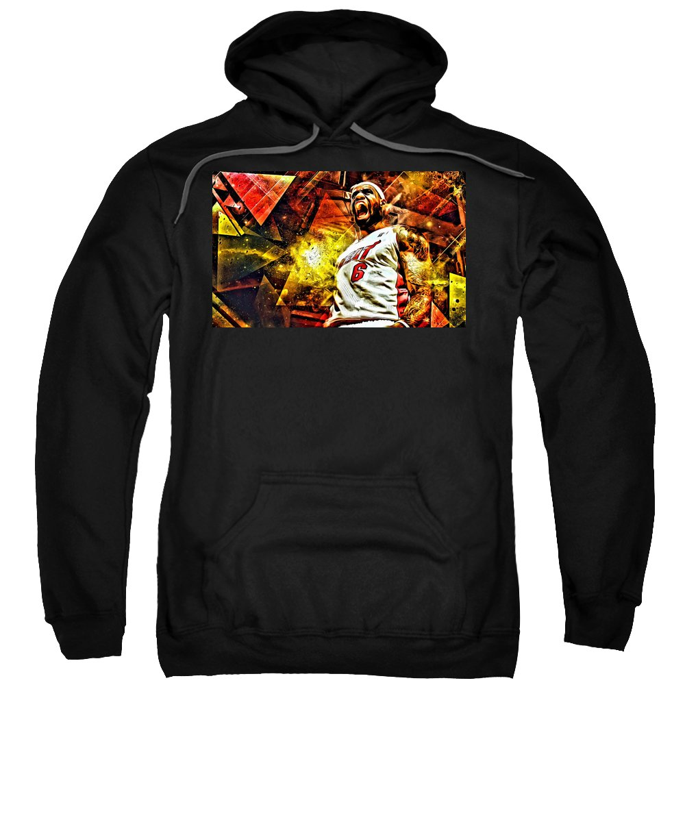 Nba Sweatshirt featuring the painting Lebron James Art Poster by Florian Rodarte