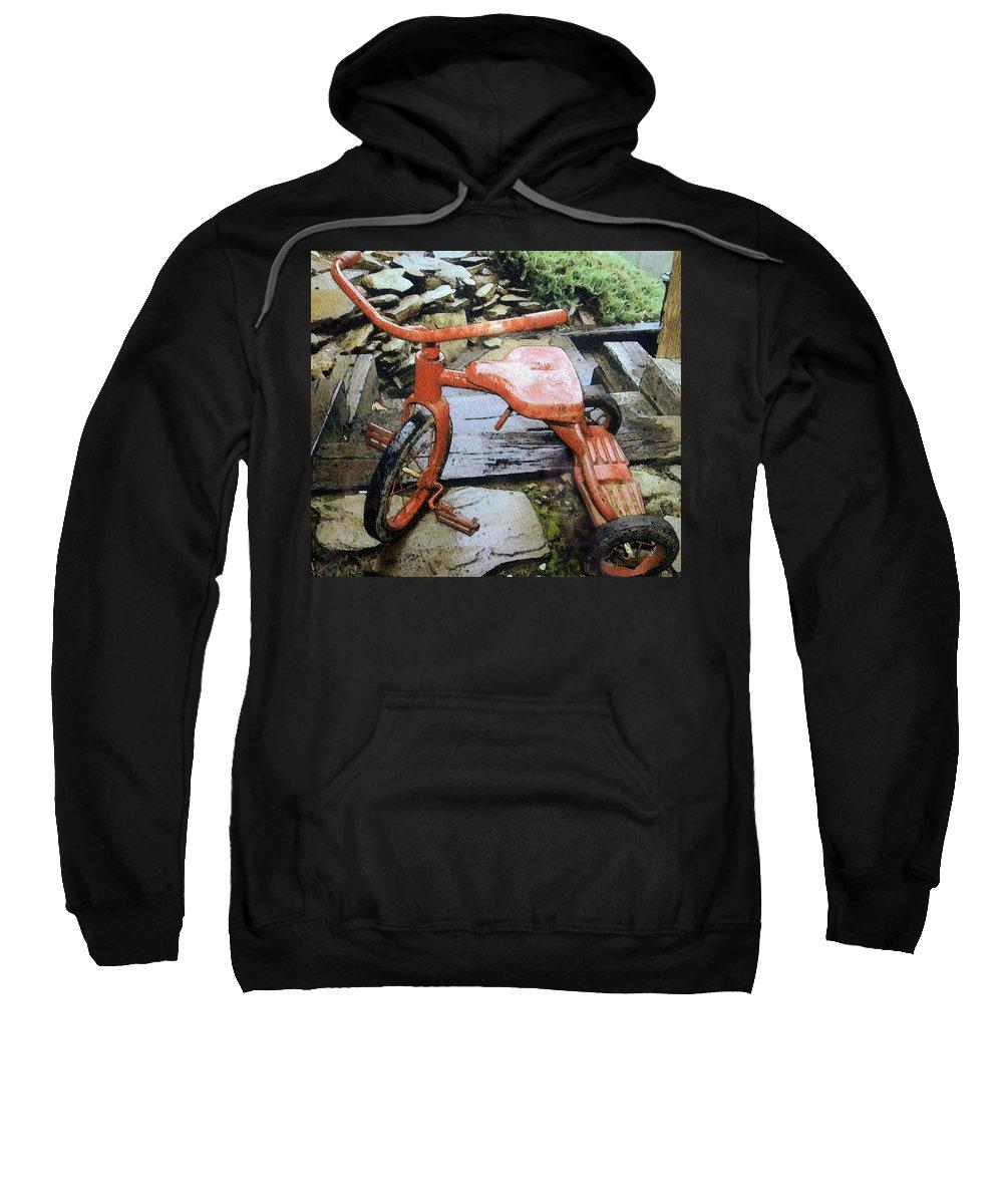 Trike; Tricycle; Wet; Rain; Old; Used; Outdoors; Retro; Red; Wheels; Fun; Sport; Kids; Small; Digital; Art Sweatshirt featuring the digital art Left Out In The Rain by Susan Leggett