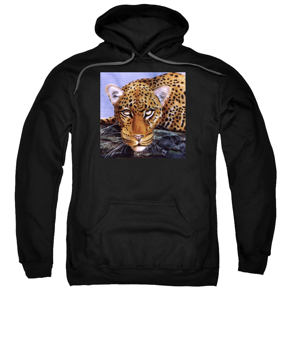 Leopard Sweatshirt featuring the painting Leopard In A Tree by Thomas J Herring