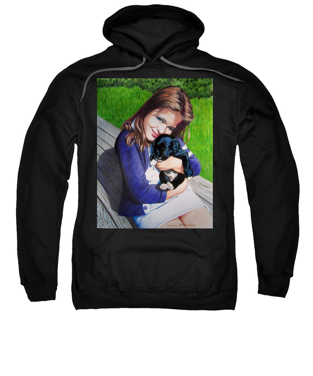 Girl Sweatshirt featuring the mixed media Leslie And Sergeant by Constance Drescher