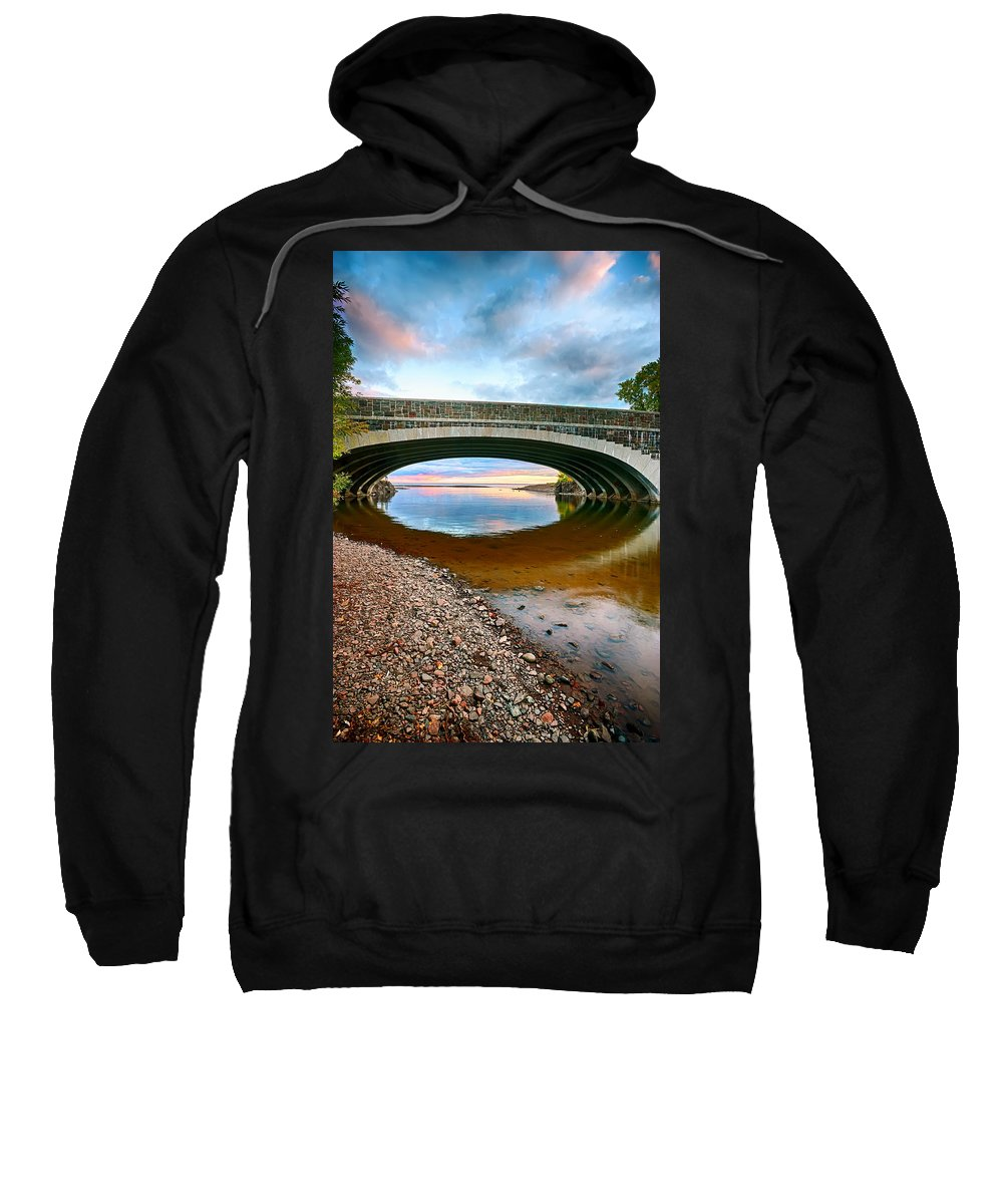 Bridge Sweatshirt featuring the photograph Lester River Mouth by Bryan Benson