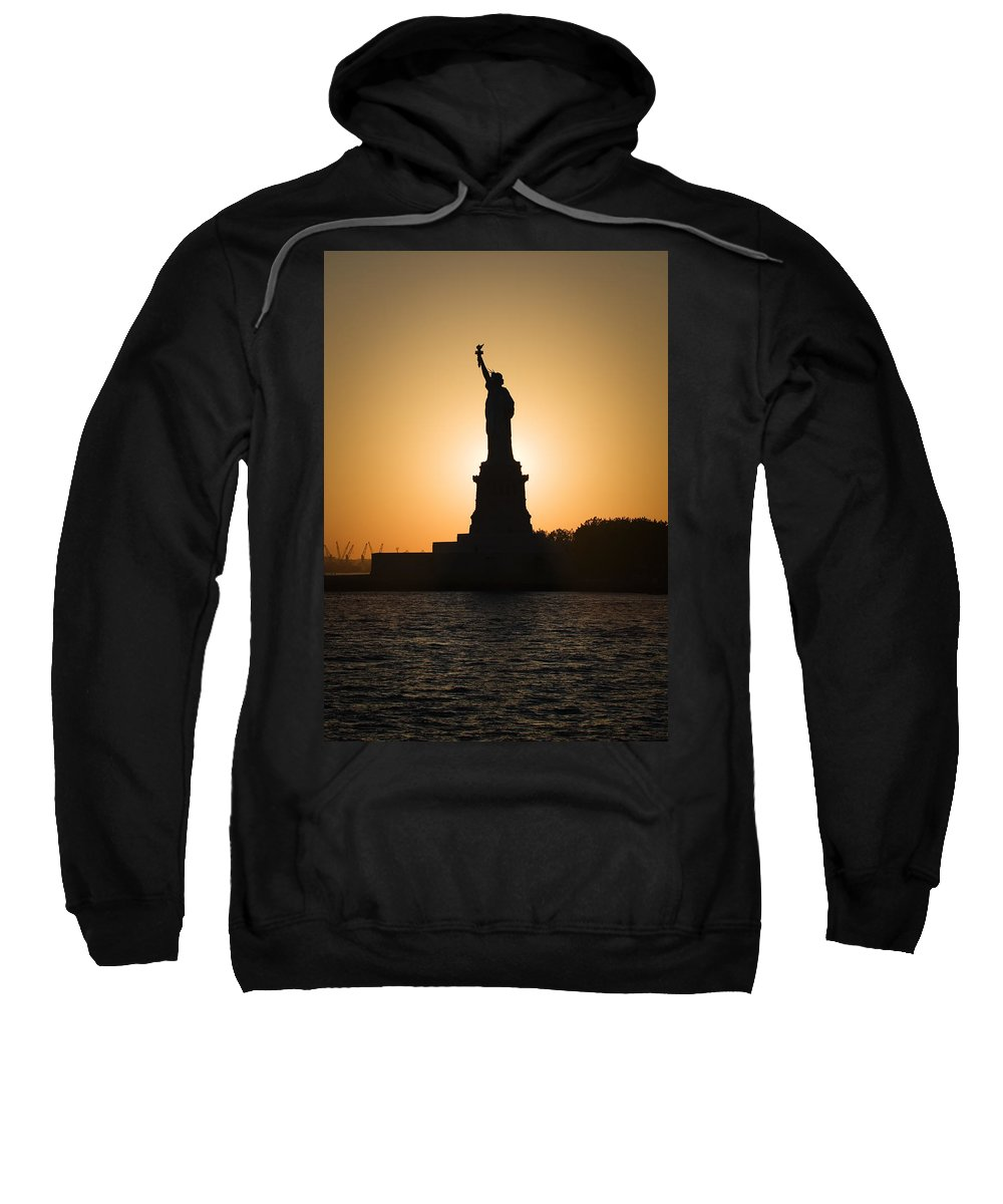 Statue Of Liberty Sweatshirt featuring the photograph Liberty Sunset by Dave Bowman