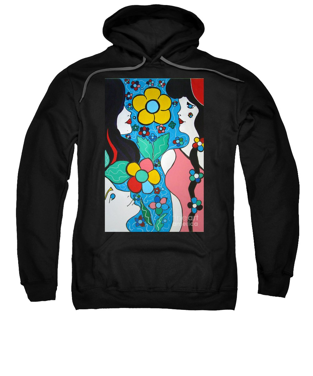 Pop-art Sweatshirt featuring the painting Life Is Beautiful by Silvana Abel
