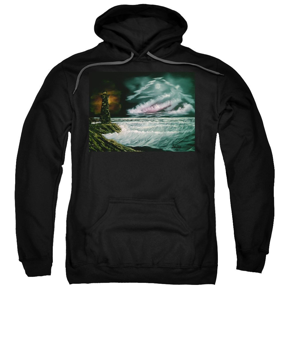 Ocean Sweatshirt featuring the painting Lighthouse Glow by Jim Saltis