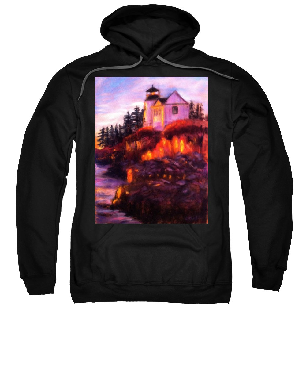 Lighthouse Sweatshirt featuring the painting Lighting The Way by Gail Kirtz