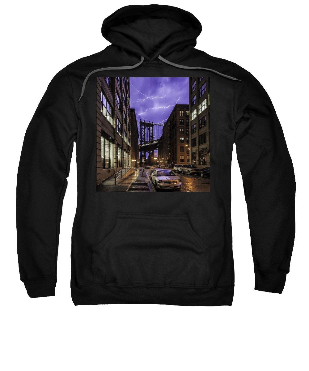 New York Sweatshirt featuring the photograph Lightning Over Manhattan Bridge by Alex Potemkin