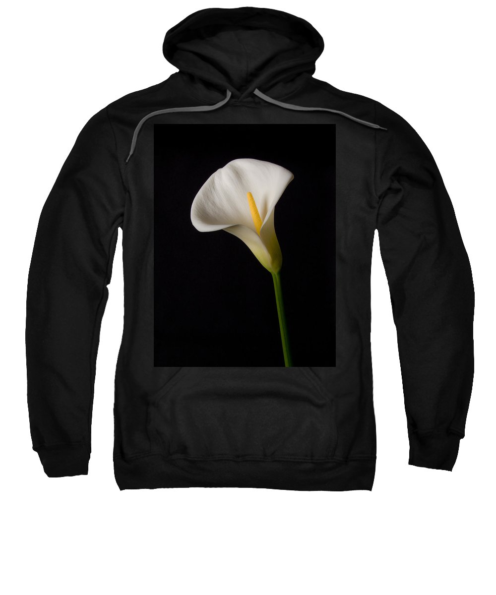 Calla Lily Sweatshirt featuring the photograph Lily On Black by Guillermo Rodriguez