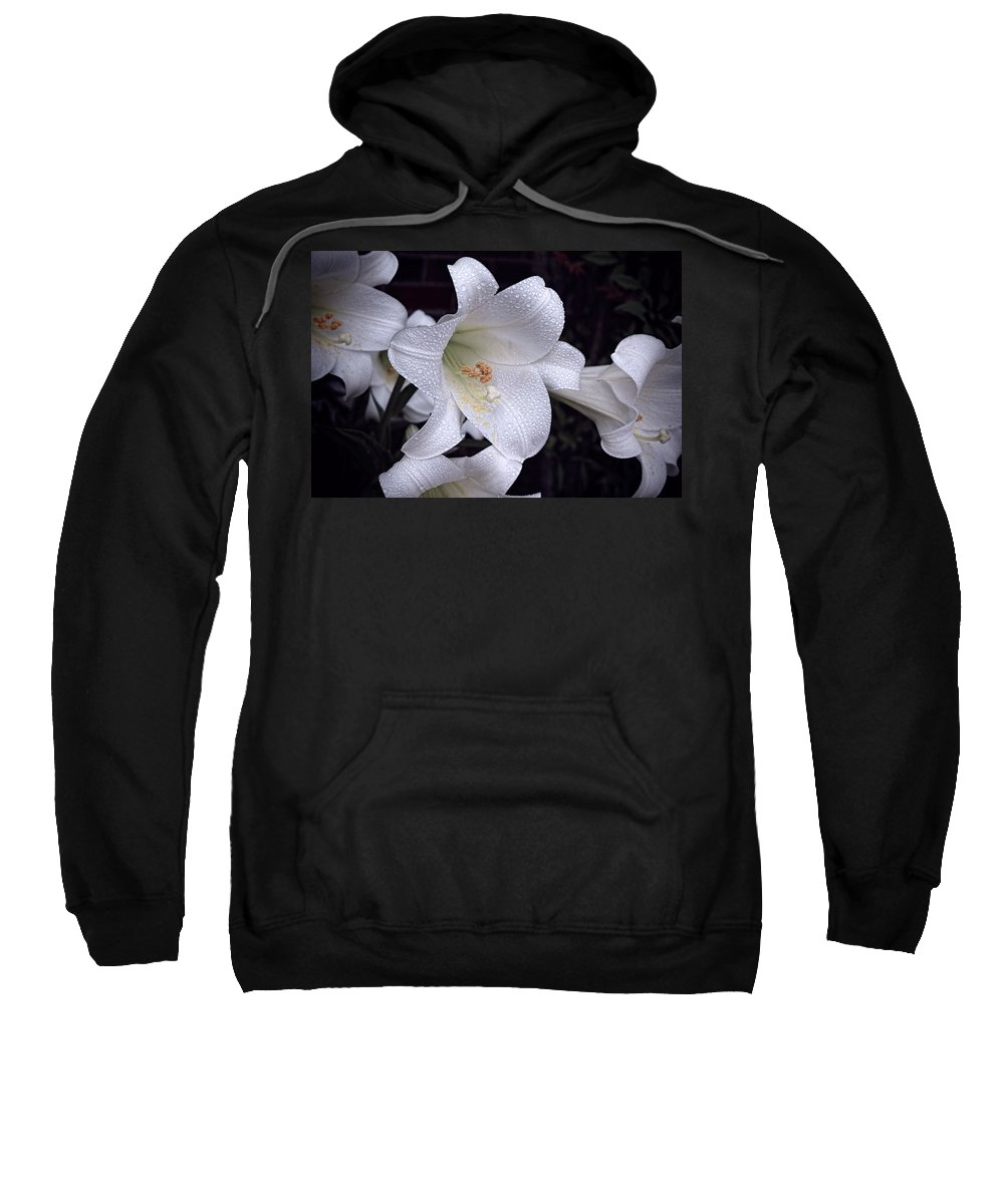 Lily Sweatshirt featuring the photograph Lily With Rain Droplets by Bonnie Willis