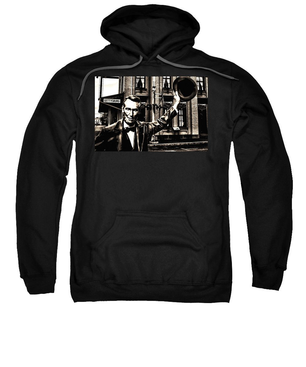 Lincoln Arriving At Gettysburg Sweatshirt featuring the photograph Lincoln Arriving At Gettysburg by Bill Cannon