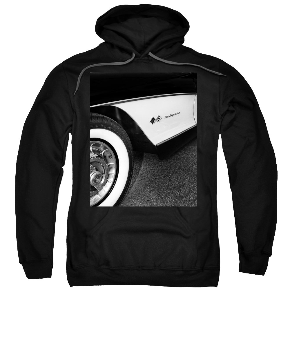 Car Auction Sweatshirt featuring the photograph Little Black Corvette Palm Springs by William Dey