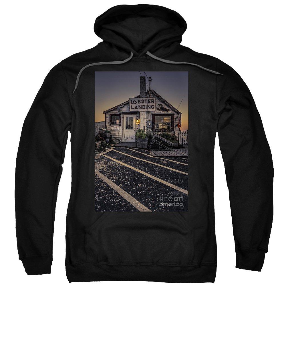 Clinton Sweatshirt featuring the photograph Lobster Landing Shack Restaurant At Sunset by Edward Fielding