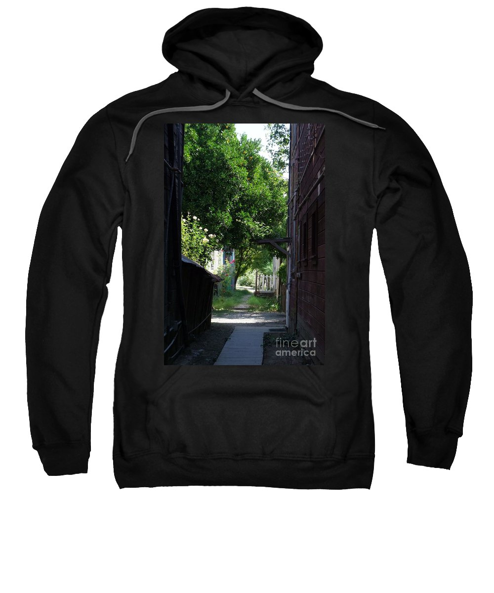 Green Sweatshirt featuring the photograph Locke Chinatown Series - Alley With Trees - 5 by Mary Deal