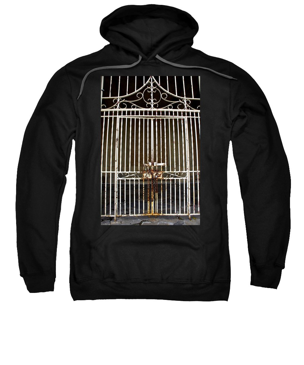 Gate Sweatshirt featuring the photograph Locked Promenade by Laurie Perry