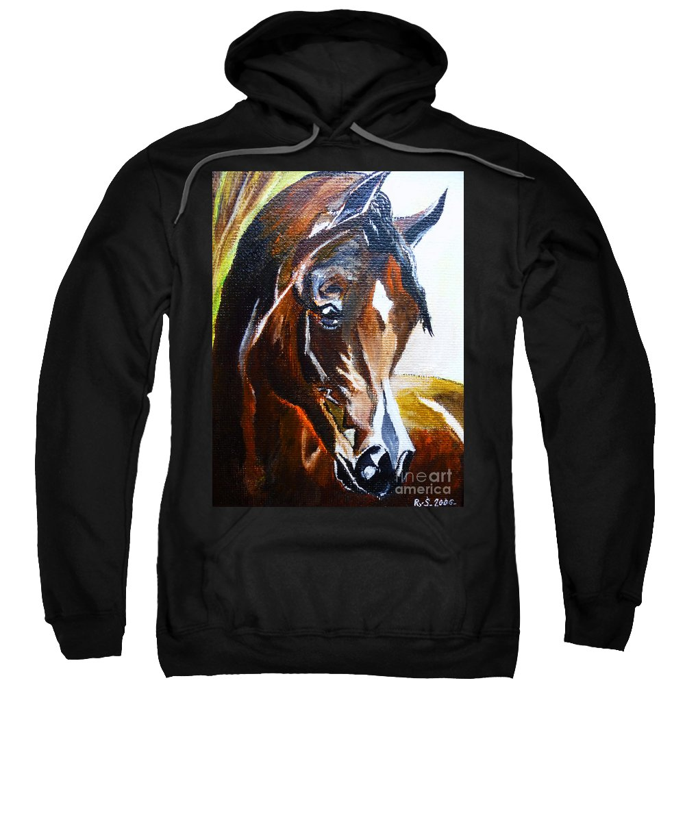 Look At Me Sweatshirt featuring the painting Look At Me by Ryszard Sleczka