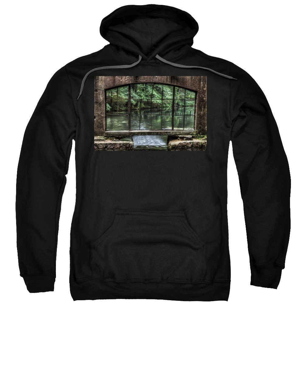 Kettle Moraine Sweatshirt featuring the photograph Looking Out - Paradise Springs Spring House Window by Jennifer Rondinelli Reilly - Fine Art Photography