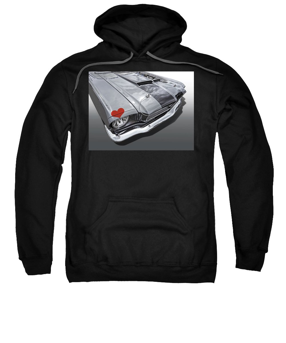 Red Heart Sweatshirt featuring the photograph Love At First Sight - '66 Mustang by Gill Billington