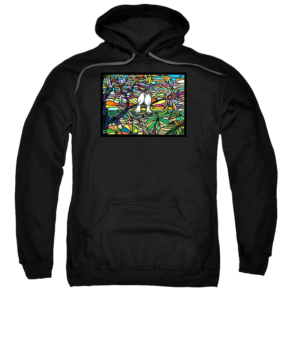 Doves Sweatshirt featuring the painting Love Is All Around by Jim Harris