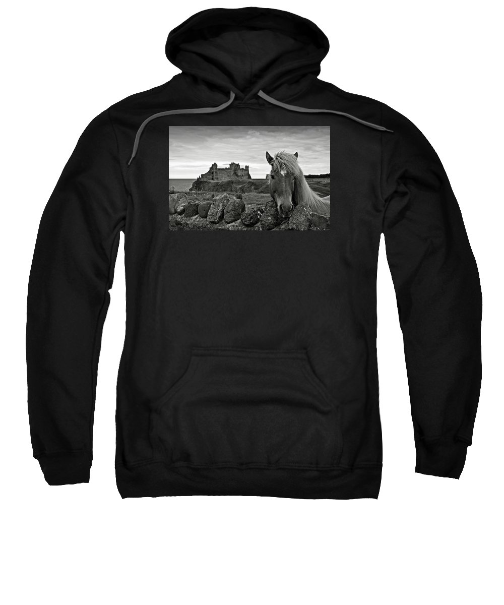 Tantallon Castle Sweatshirt featuring the photograph Lovely Horse And Tantallon Castle by RicardMN Photography