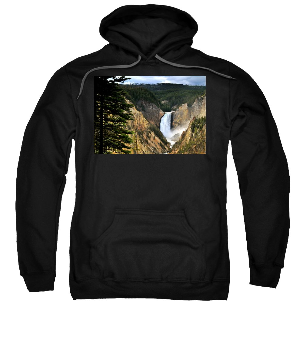 Wyoming Sweatshirt featuring the photograph Lower Falls On The Yellowstone River by Ed Riche