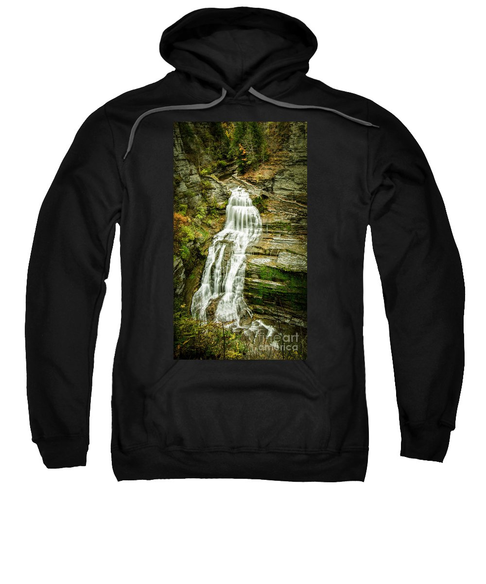 Lucifer Sweatshirt featuring the photograph Lucifer Falls Treman Park by Brad Marzolf Photography