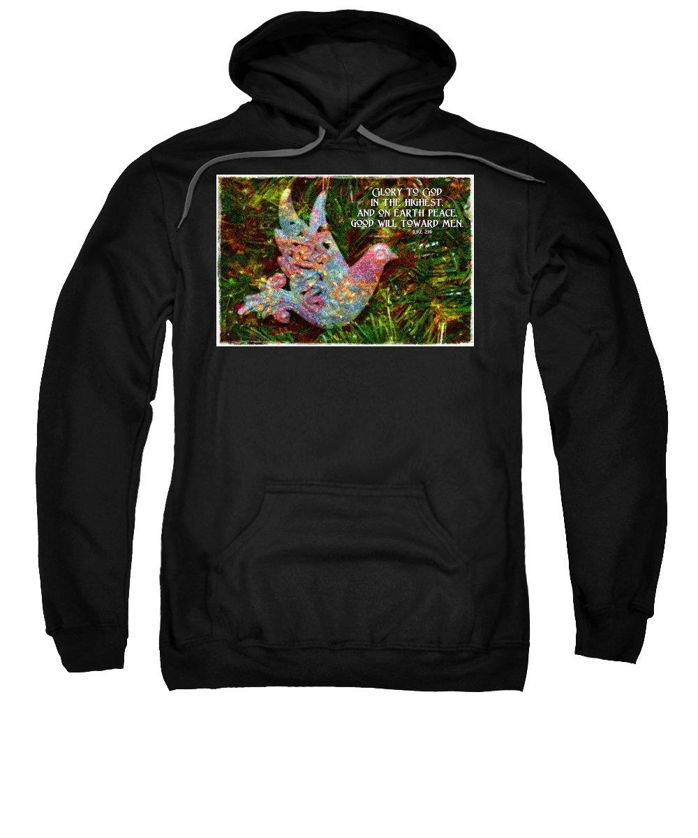 Jesus Sweatshirt featuring the digital art Luke 2 14 by Michelle Greene Wheeler