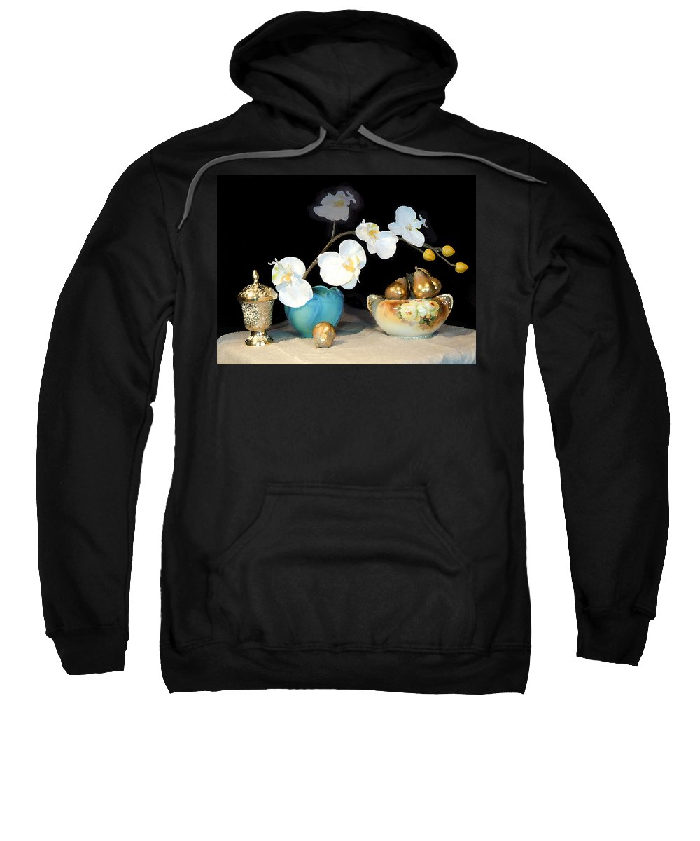 Paintings Still Life Sweatshirt featuring the photograph Luminous Watercolor Orchids by Heather Coen