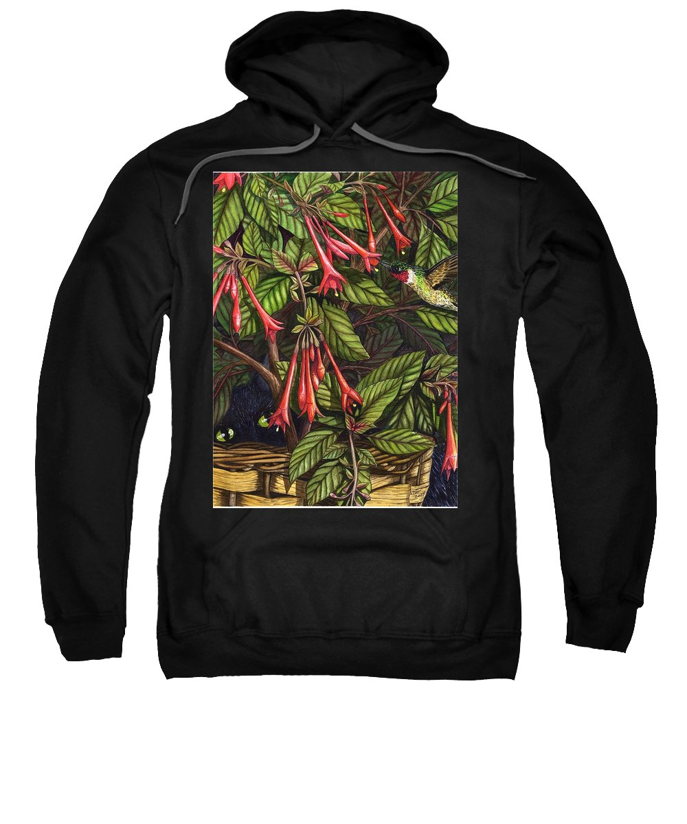 Fuchsia Sweatshirt featuring the painting Lurking by Catherine G McElroy