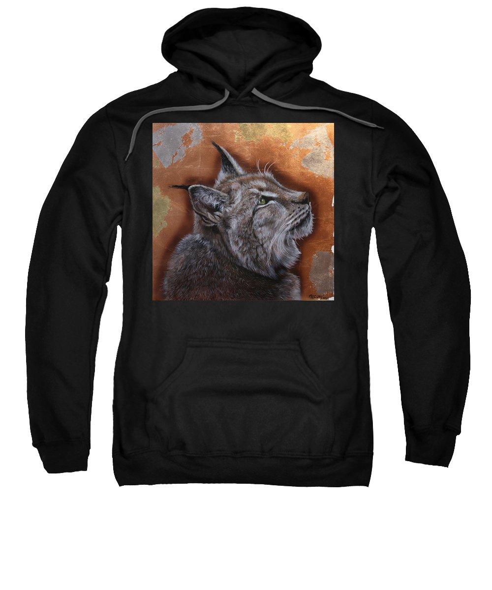 Lynx Head Sweatshirt featuring the painting Lynx Face by Susana Falconi