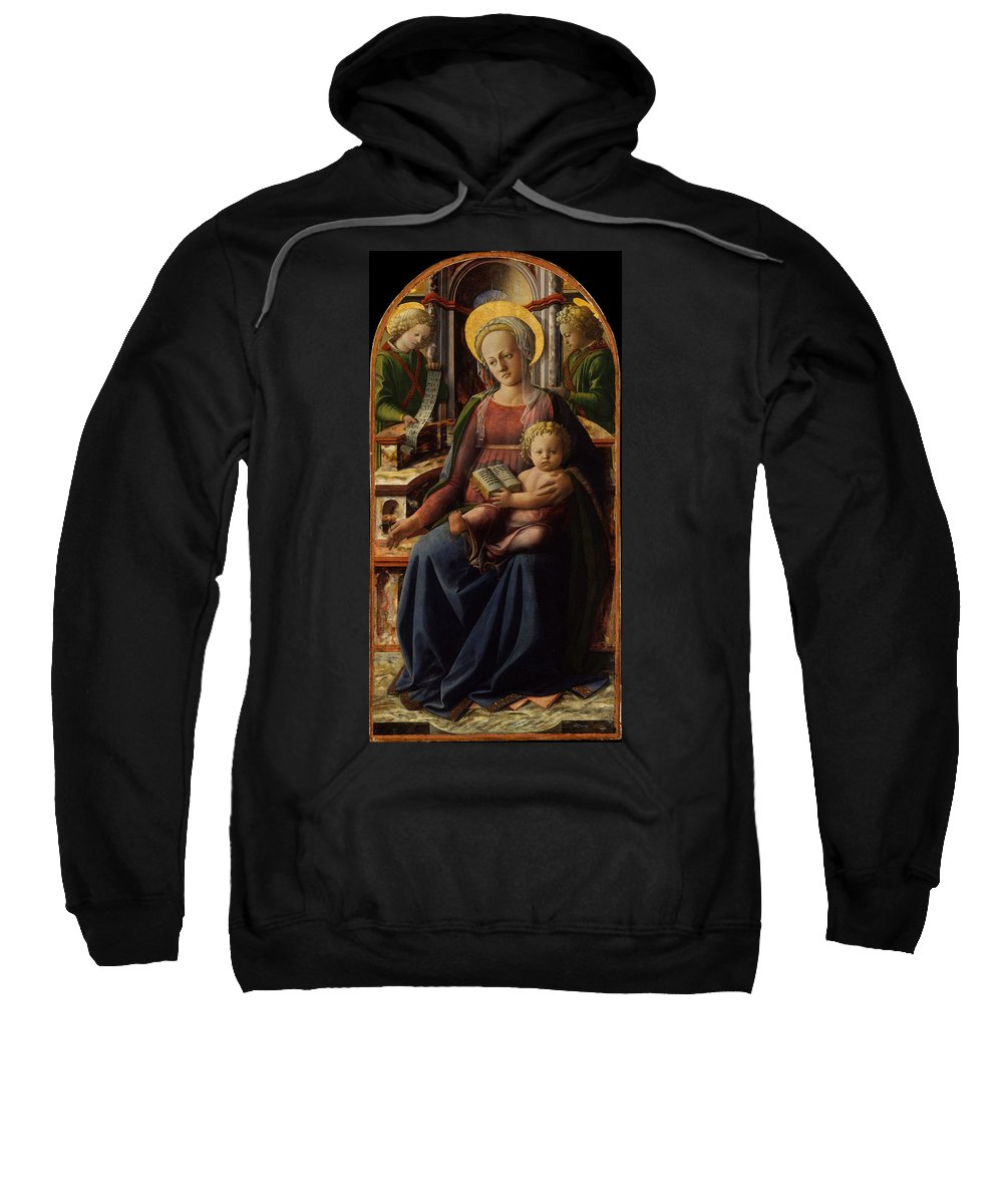 Fra Filippo Lippi Sweatshirt featuring the painting Madonna And Child Enthroned With Two Angels by Fra Filippo Lippi