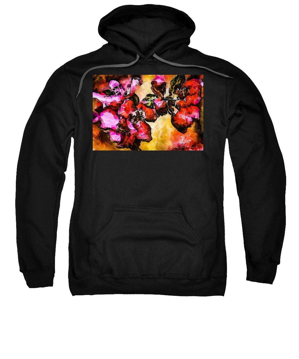 Magenta Sweatshirt featuring the digital art Magenta Flowers -- Cubism by Charles Muhle