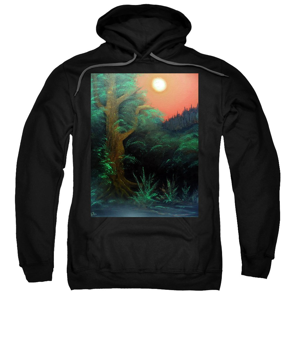 Landscape Sweatshirt featuring the painting Magic forest by Sergey Bezhinets