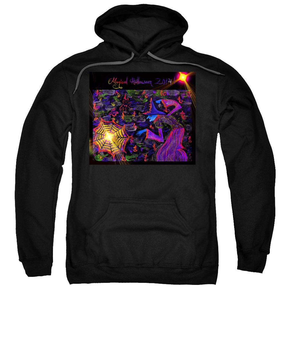 Halloween Sweatshirt featuring the painting Magical Halloween 2014 V3 by Alex Art and Photo