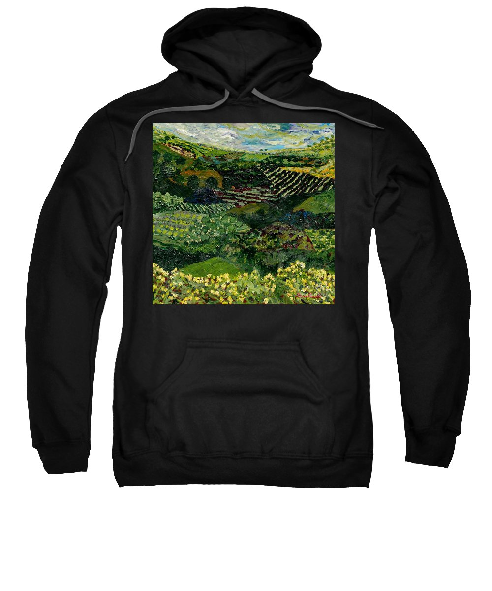 Landscape Sweatshirt featuring the painting Majestic Valley by Allan P Friedlander
