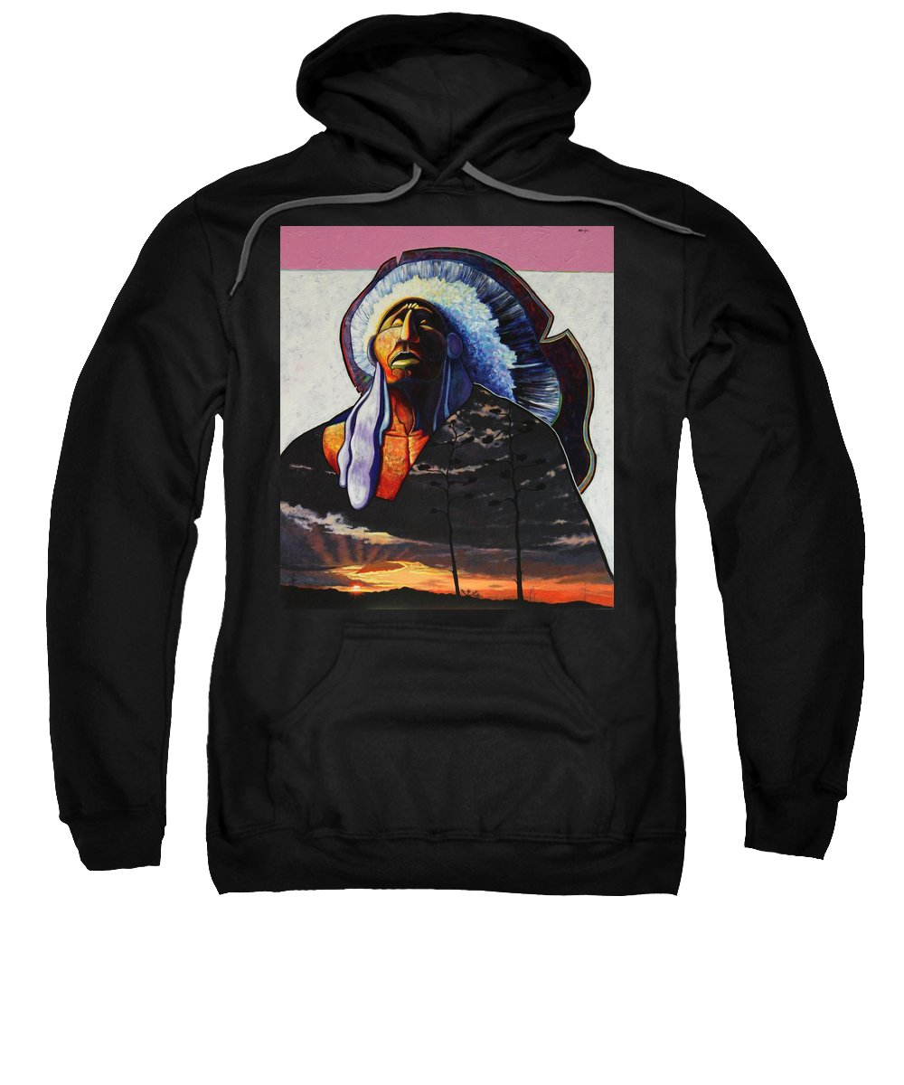 Native American Sweatshirt featuring the painting Make Me Worthy by Joe Triano