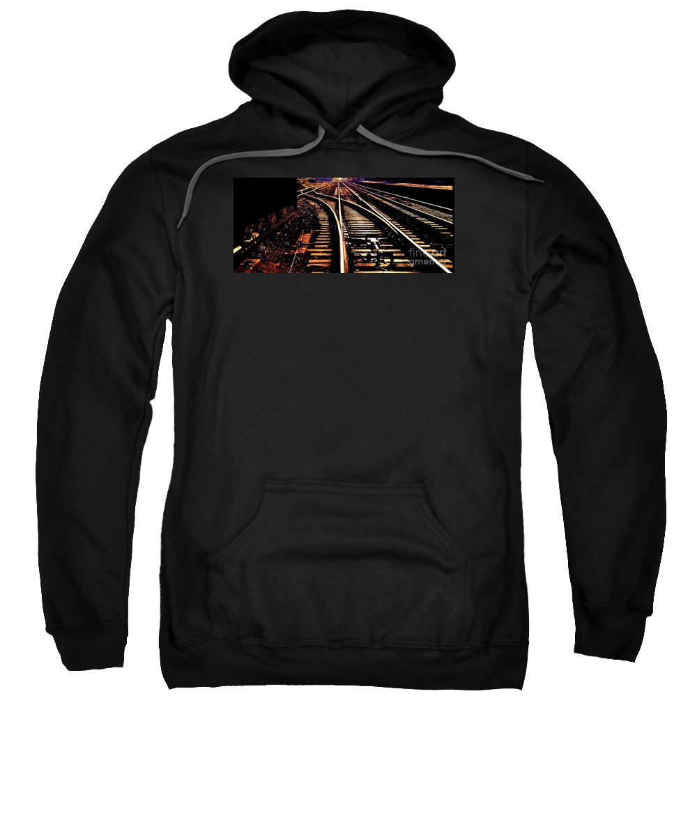 Railroad Photography Track Photography Surreal Photography Stock Shot Photography Infinity Photography Metal Frame Strongly Suggested England Photography Den Photography Bon Voyage Card Phone Case Art Metal Frame Suggested T Shirt Art Tote Bag Art Sweatshirt featuring the photograph Making Tracks by Marcus Dagan