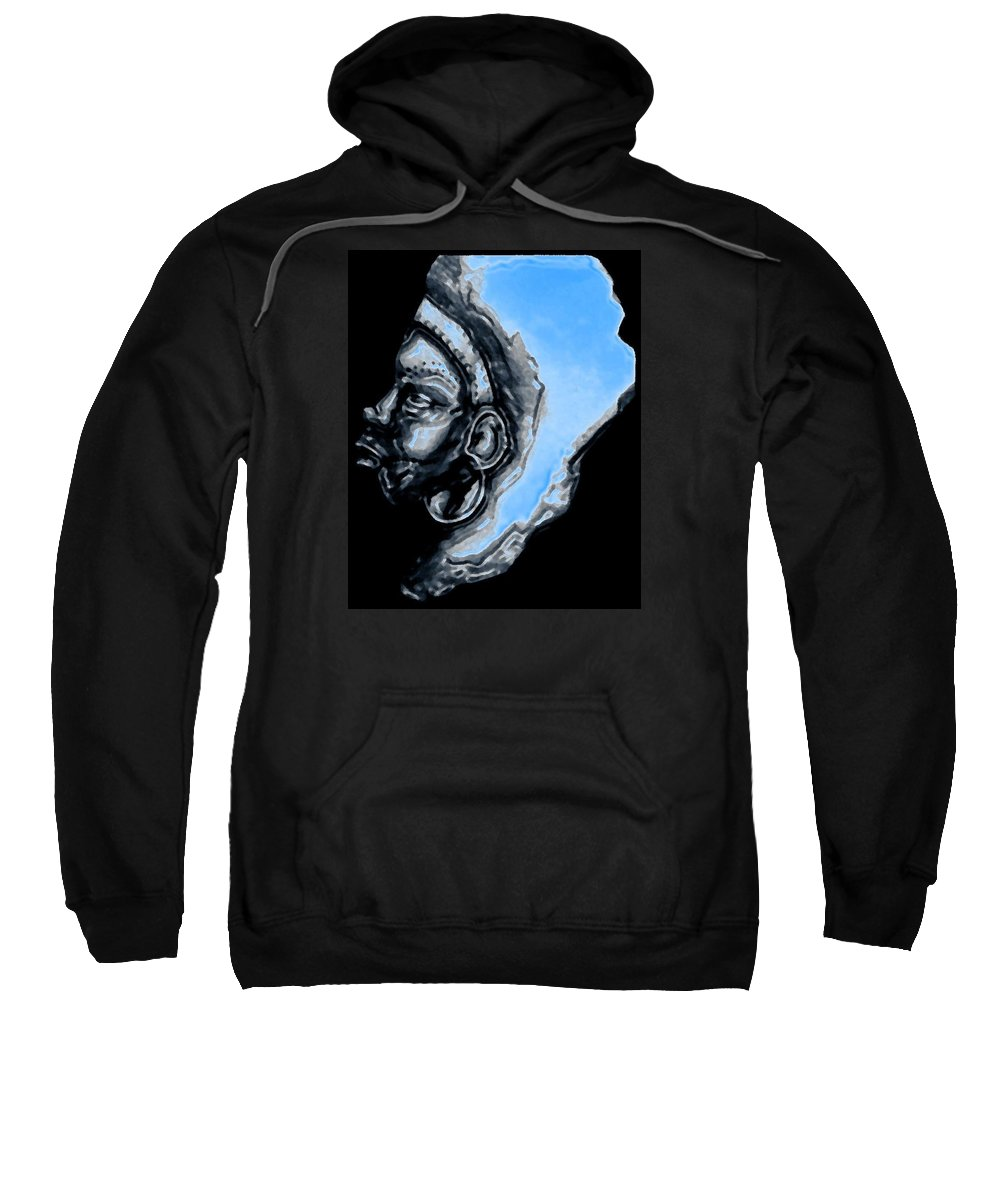 Mama Africa Sky Sweatshirt featuring the painting mama Africa by Brian Brown