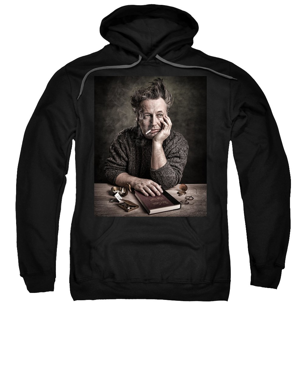 Self Portraits Sweatshirt featuring the photograph Man At The Table - Lonely Hearts Club by Gary Heller
