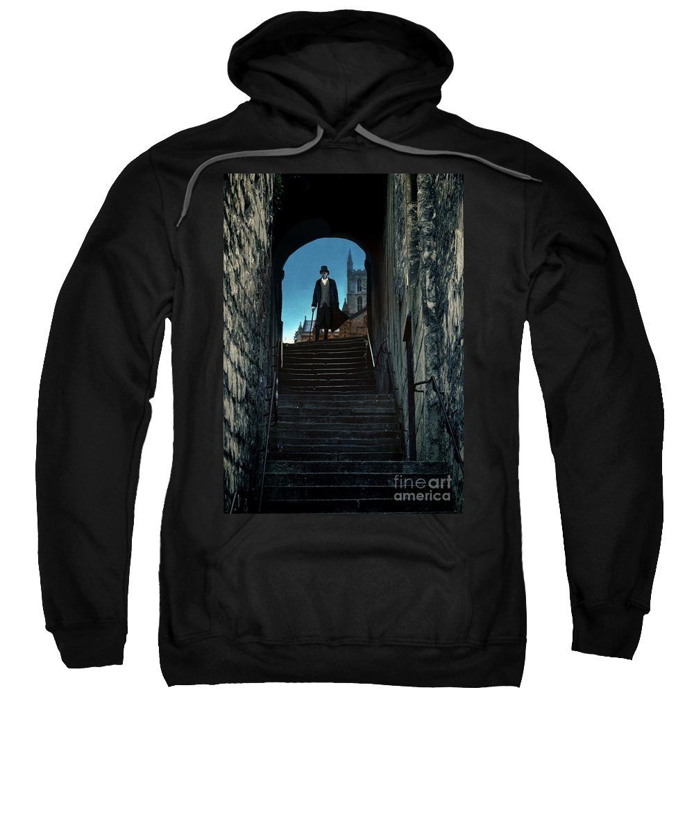 Young Sweatshirt featuring the photograph Man At The Top Of The Steps by Jill Battaglia