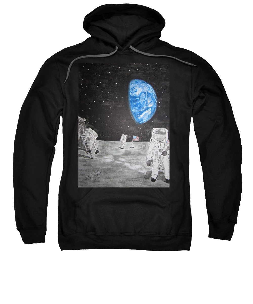 Stars Sweatshirt featuring the painting Man On The Moon by Kathy Marrs Chandler
