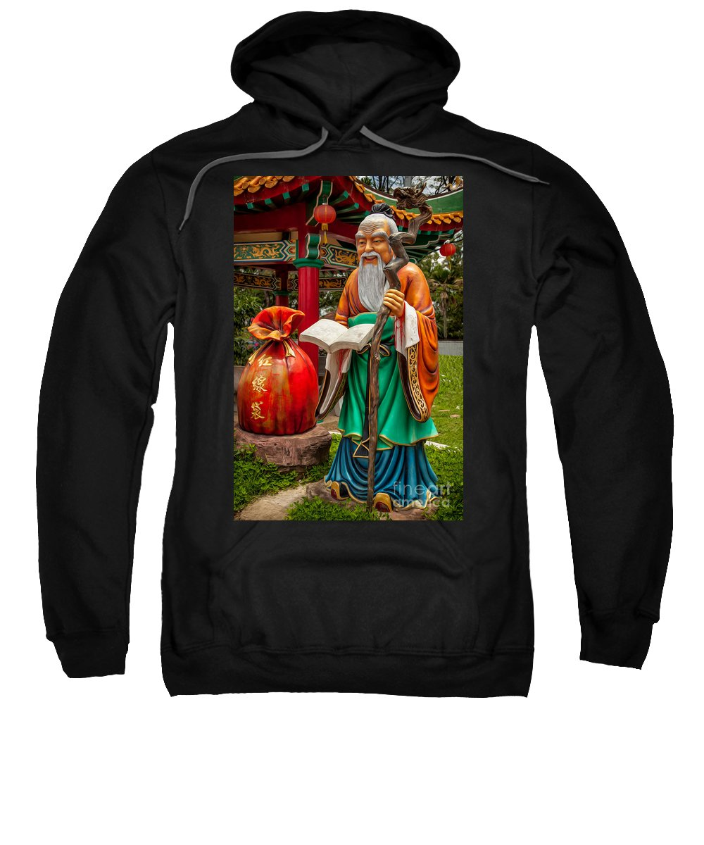 Chinese Temple Sweatshirt featuring the photograph Man Under The Moon by Adrian Evans