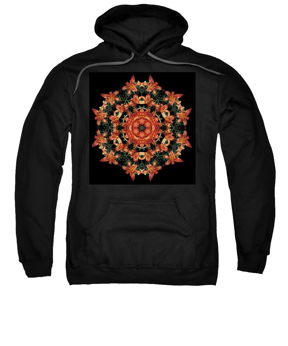 Mandala Sweatshirt featuring the photograph Mandala Daylily by Nancy Griswold