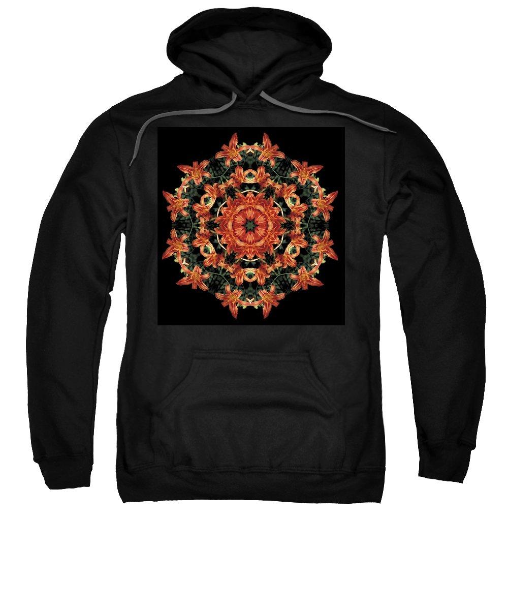 Mandala Sweatshirt featuring the photograph Mandala Daylily by Nancy Griswold