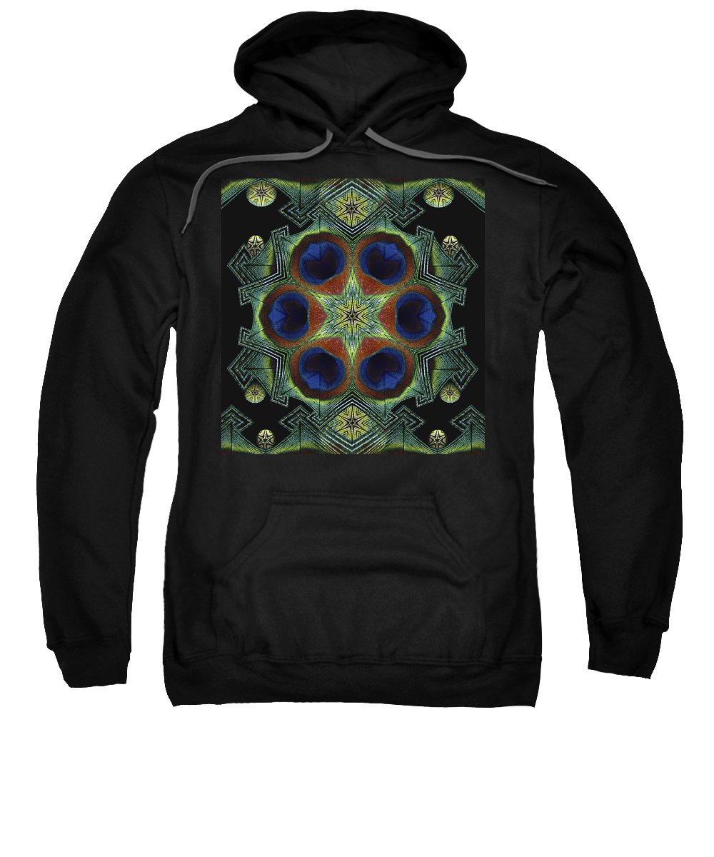 Mandala Sweatshirt featuring the digital art Mandala Peacock by Nancy Griswold