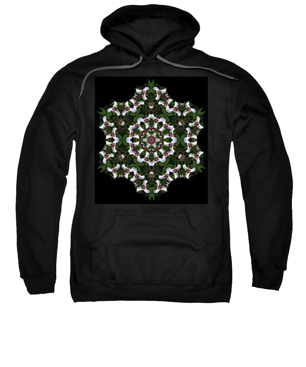 Mandala Sweatshirt featuring the digital art Mandala Trillium Holiday by Nancy Griswold