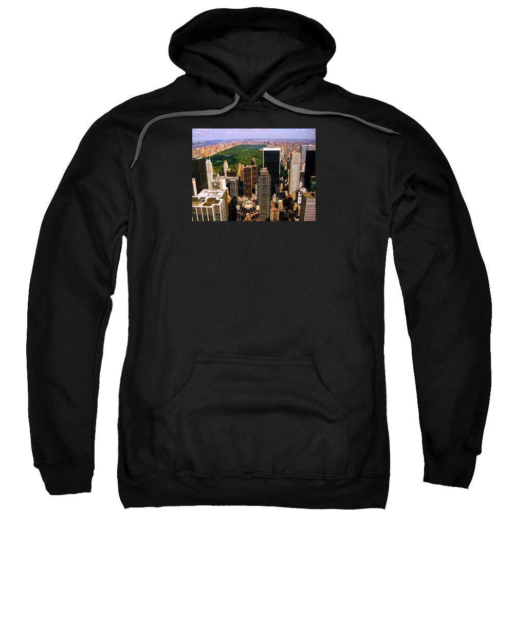 Manhattan Prints Sweatshirt featuring the photograph Manhattan And Central Park by Monique's Fine Art
